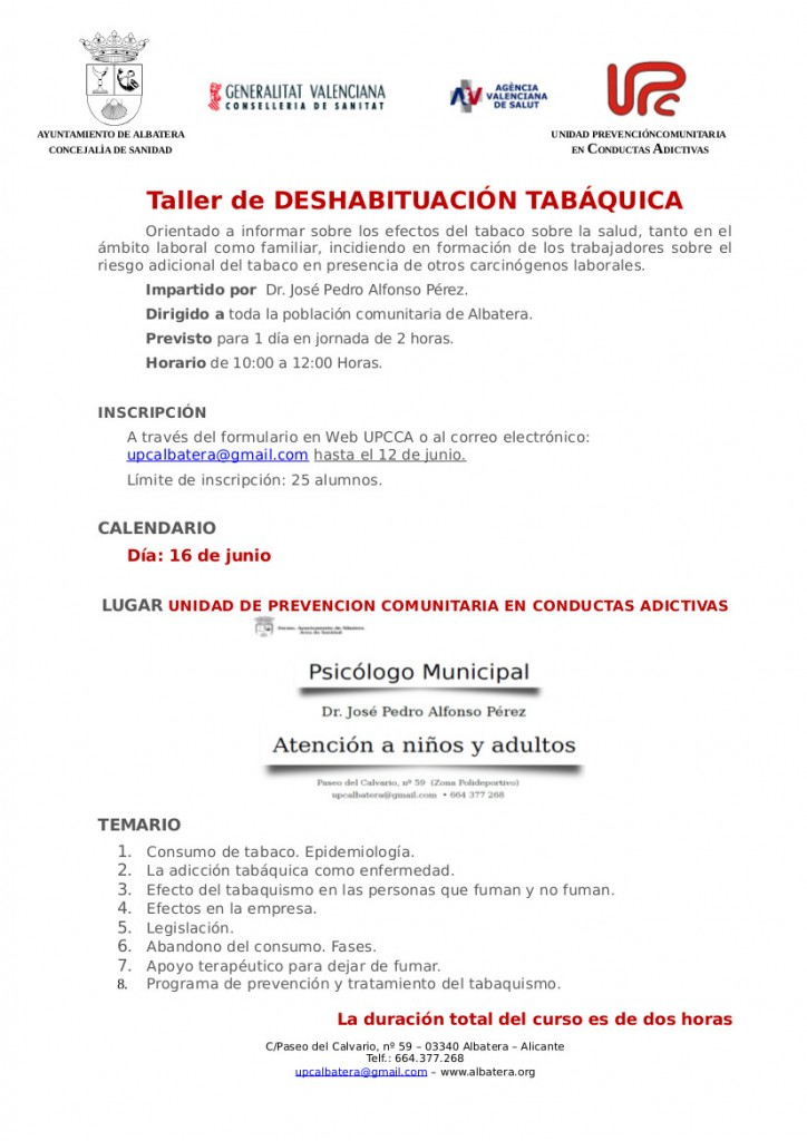 Información sobre el taller de deshabituacion tabaquica